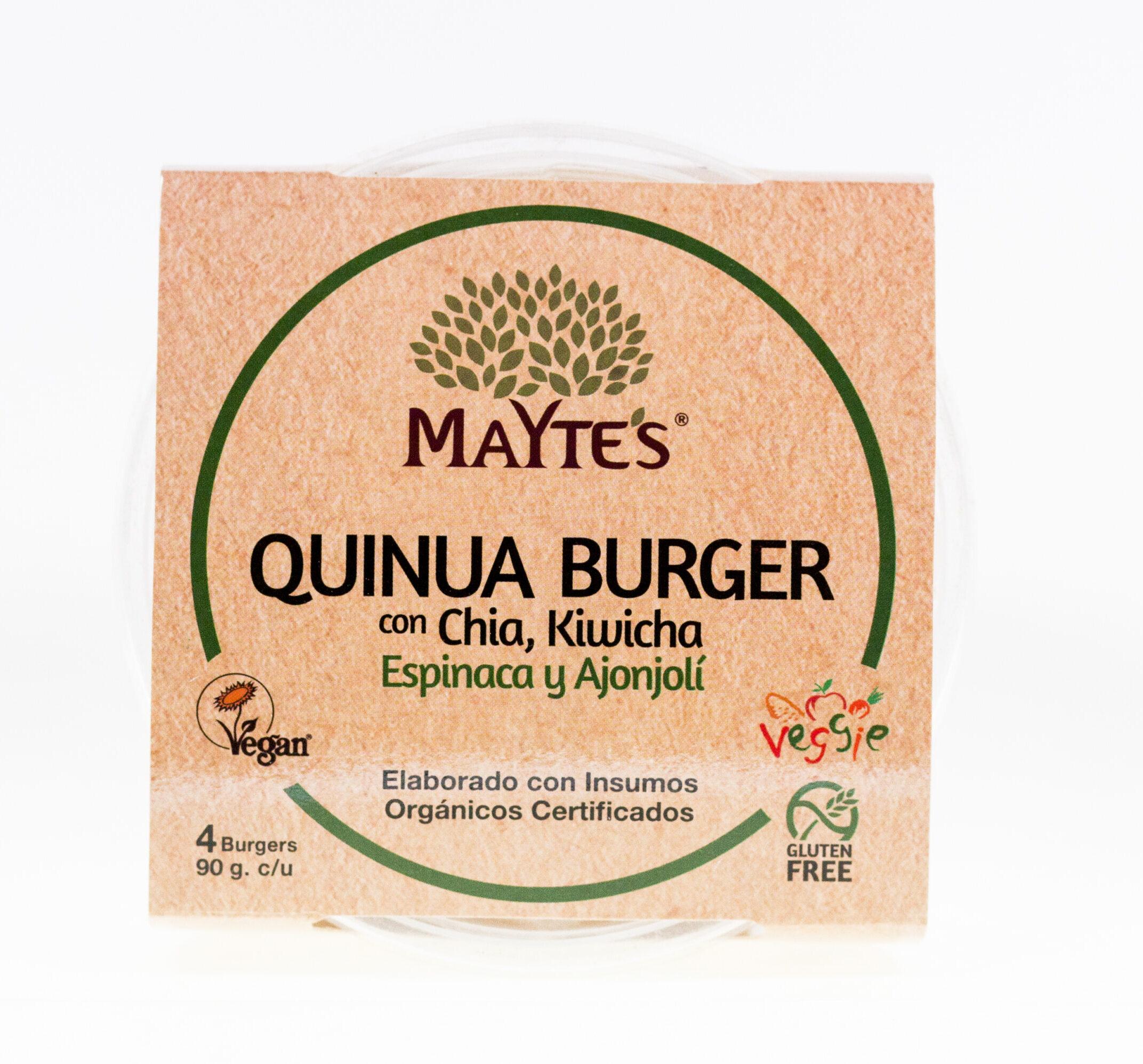 Quinua Burger con Chía, Kiwicha, Espinaca y Ajonjolí – Pack x4