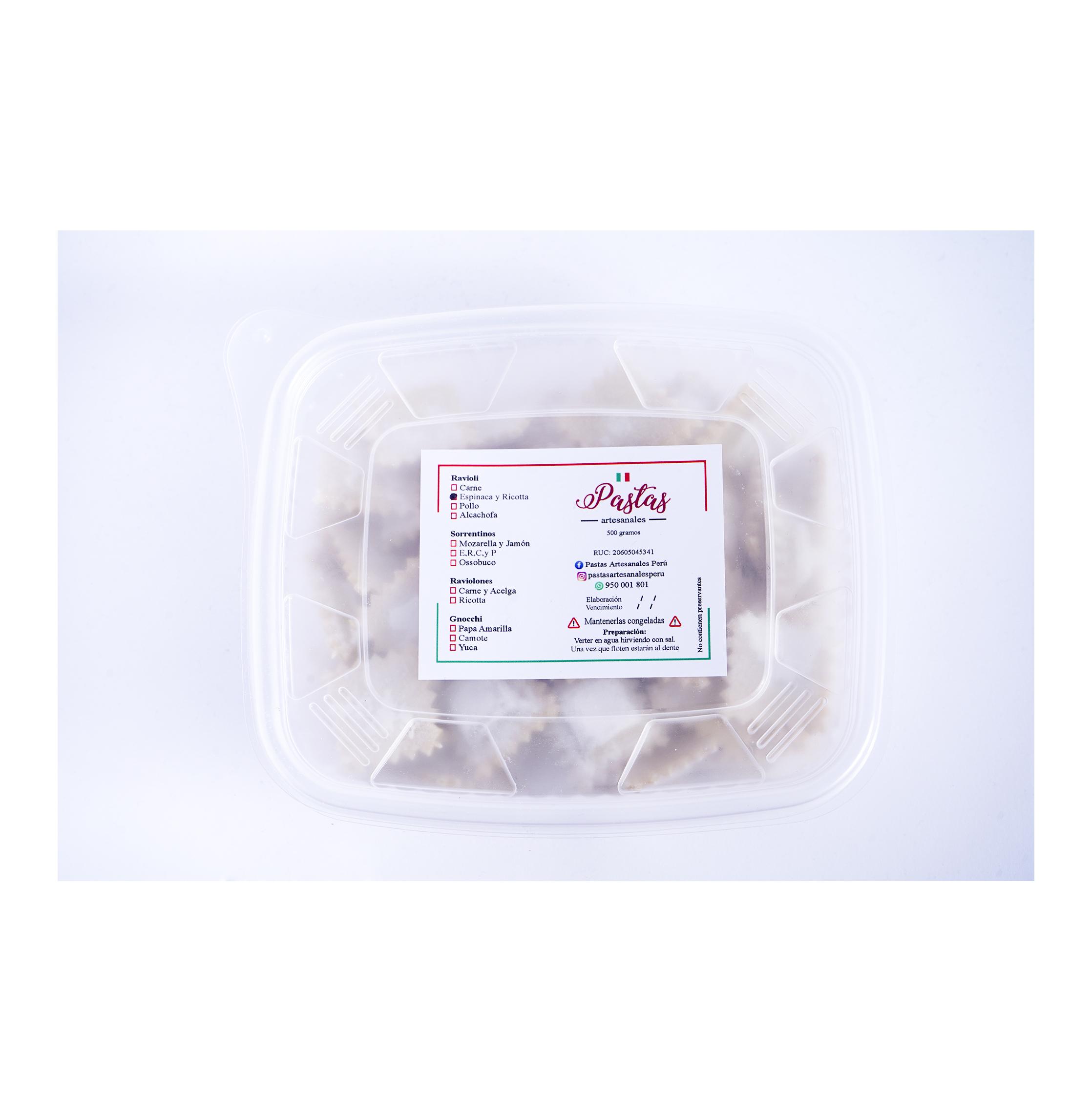 Ravioles de Espinaca y Ricotta 500 gr.